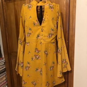 Yellow floral mod style dress